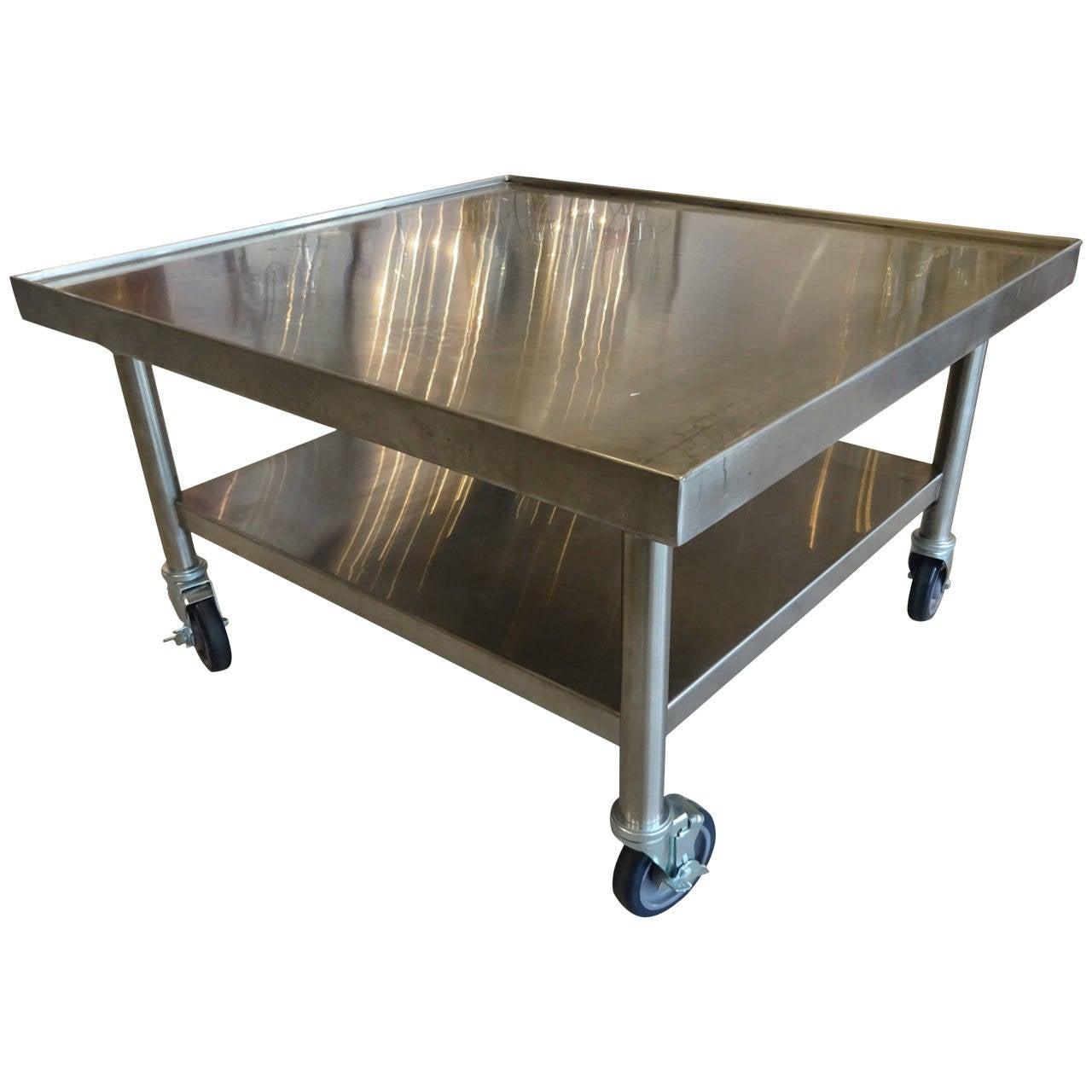 industrial rolling cocktail table at 1stdibs. Black Bedroom Furniture Sets. Home Design Ideas