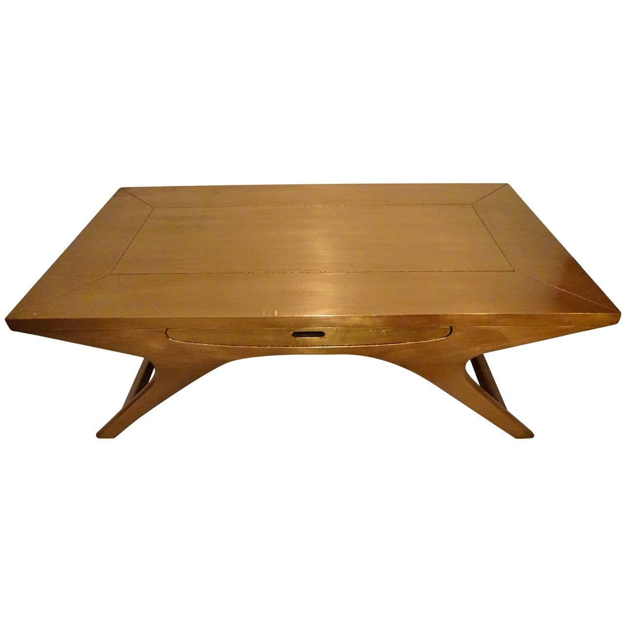 Modern copper clad coffee table at 1stdibs for Modern furniture coffee table