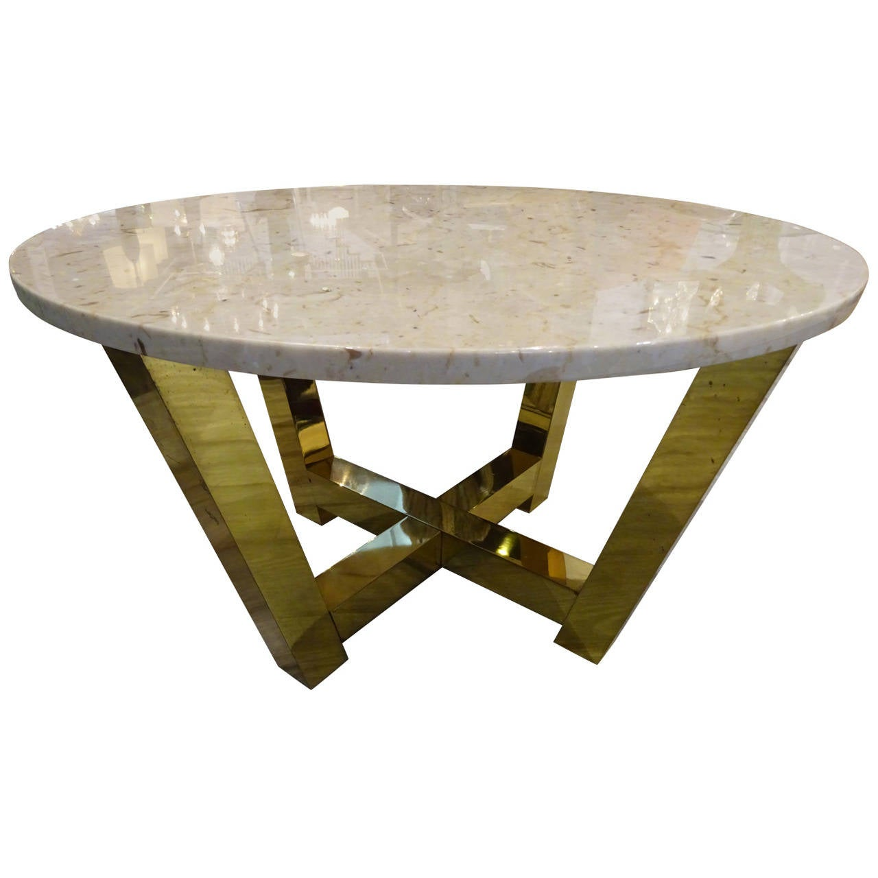 Mid Century Brass And Travertine Coffee Table For Sale At