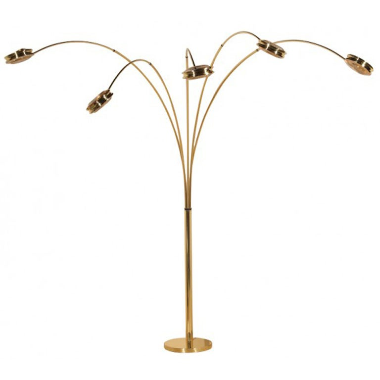 197039s italian 5 arm arc lamp at 1stdibs for 5 five arm floor lamp light