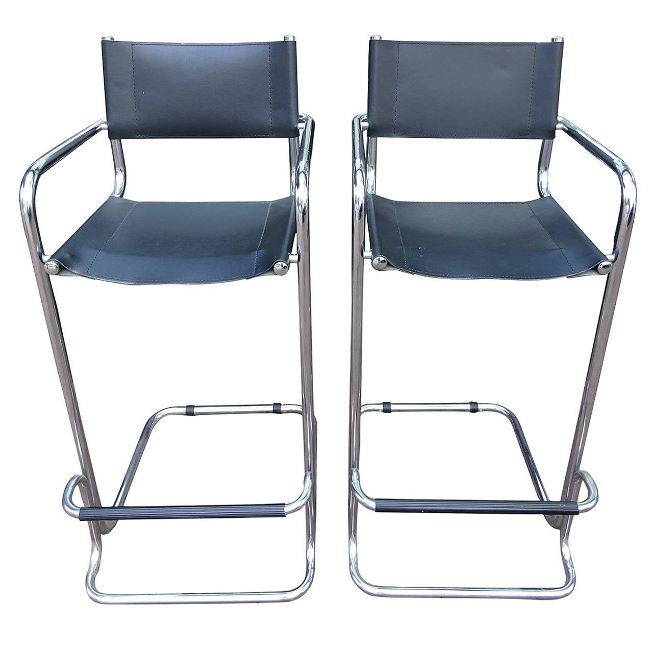 Pair Of Italian Modern Chrome And Leather Bar Chairs At