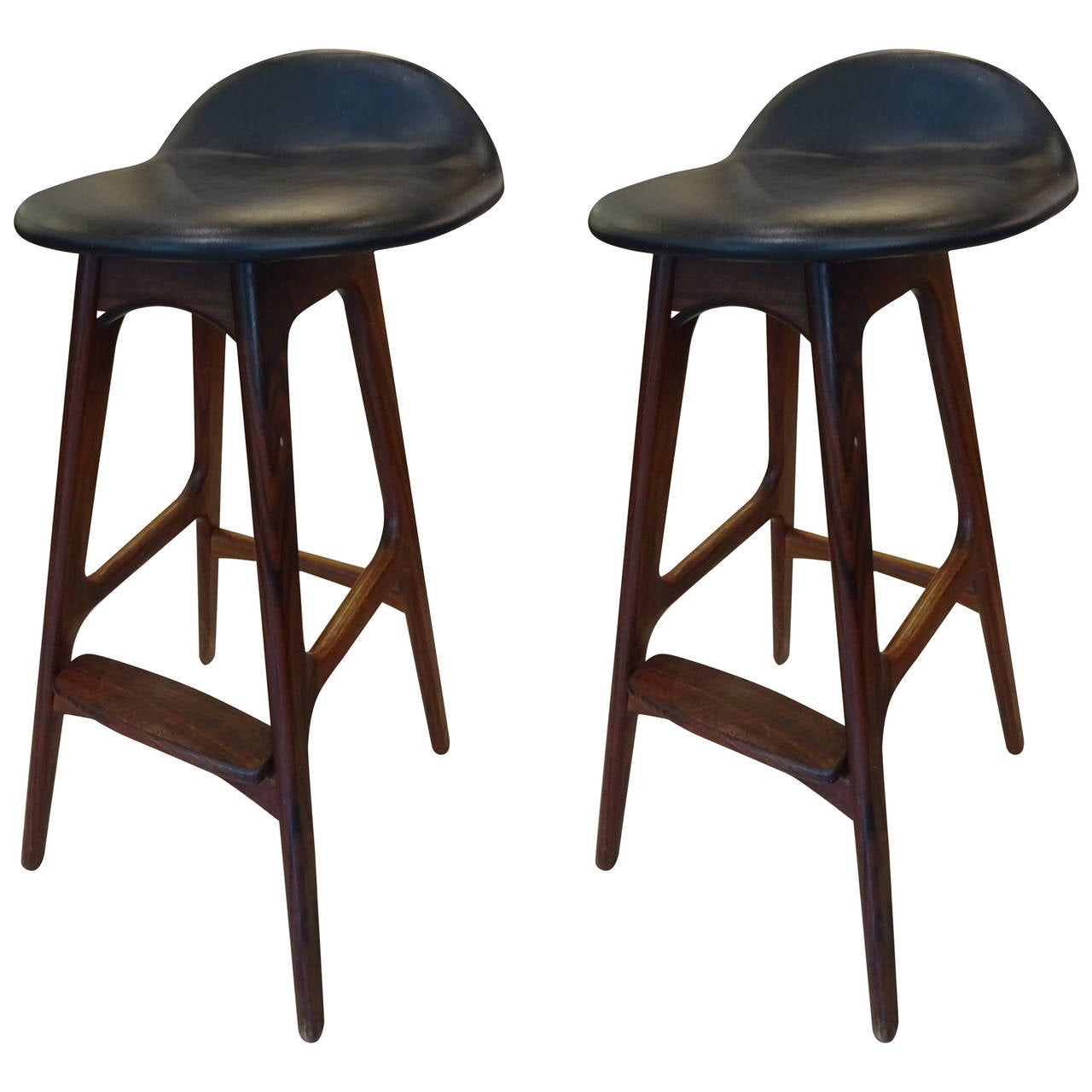 Pair of erik buch rosewood bar stools at 1stdibs - Erik buch bar stool ...