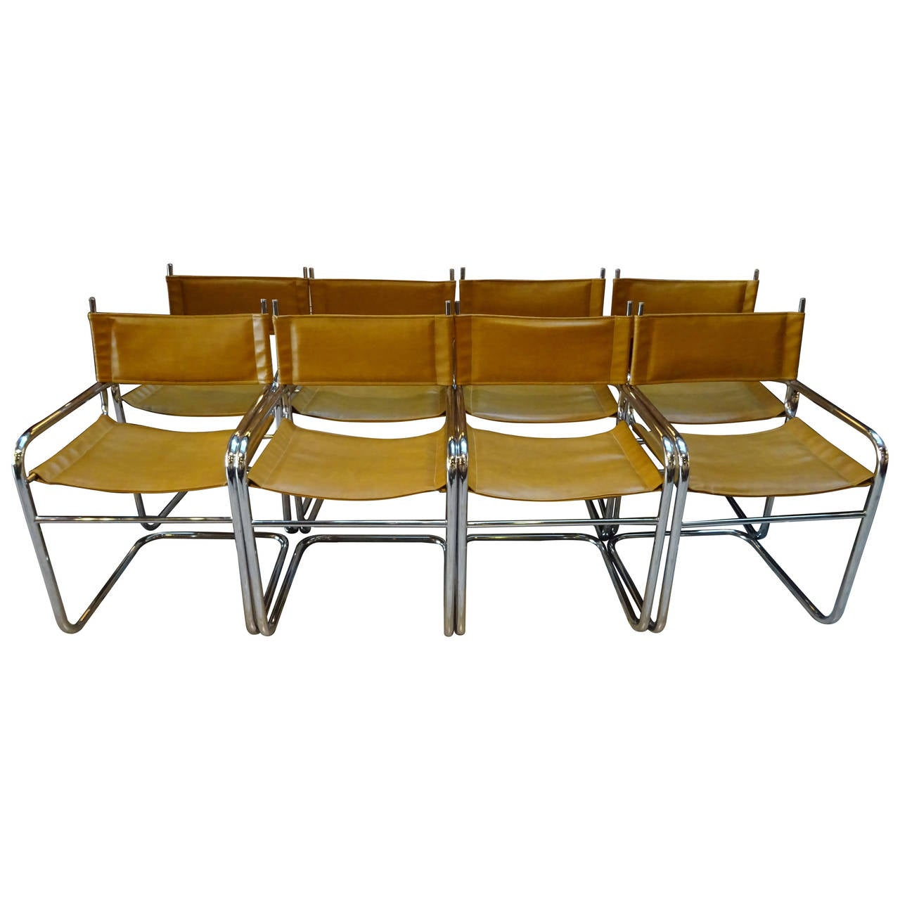 Set of eight french modern chrome and leather dining for Leather and chrome dining chairs