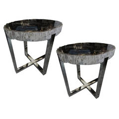 "Petrified Wood Tables with Steel ""X"" Base"