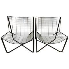 Pair of Danish 1980s Geometric Wire Chairs