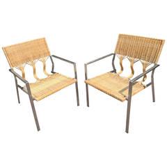 Pair of Organic Modern Rattan Club Chairs