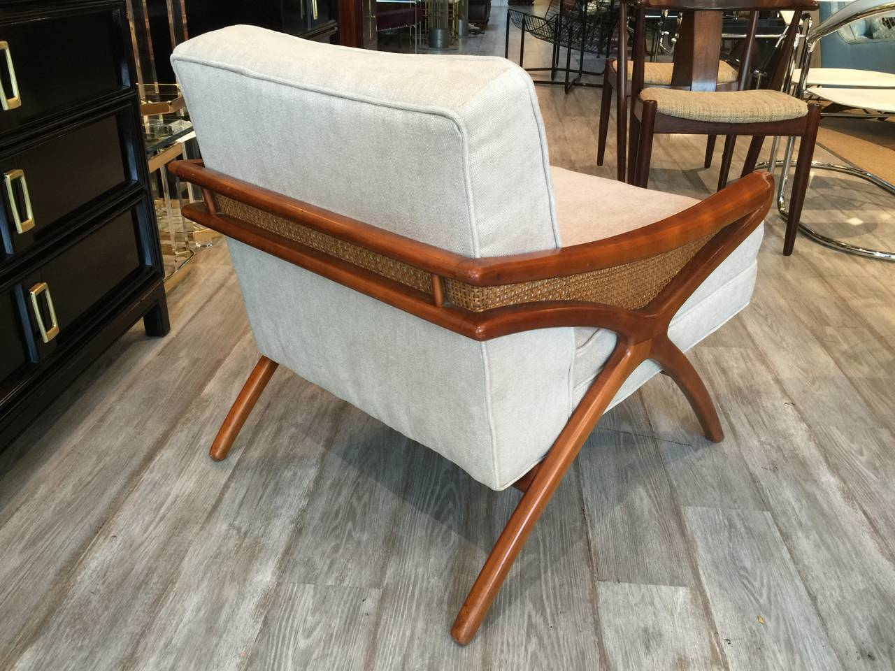 Mid Century Modern Mid Century Sculptural Club Chair With Rattan Detail For  Sale Pictures