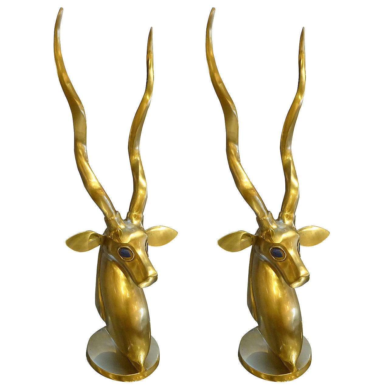 Anthony redmile style brass and lapis deer head sculpture