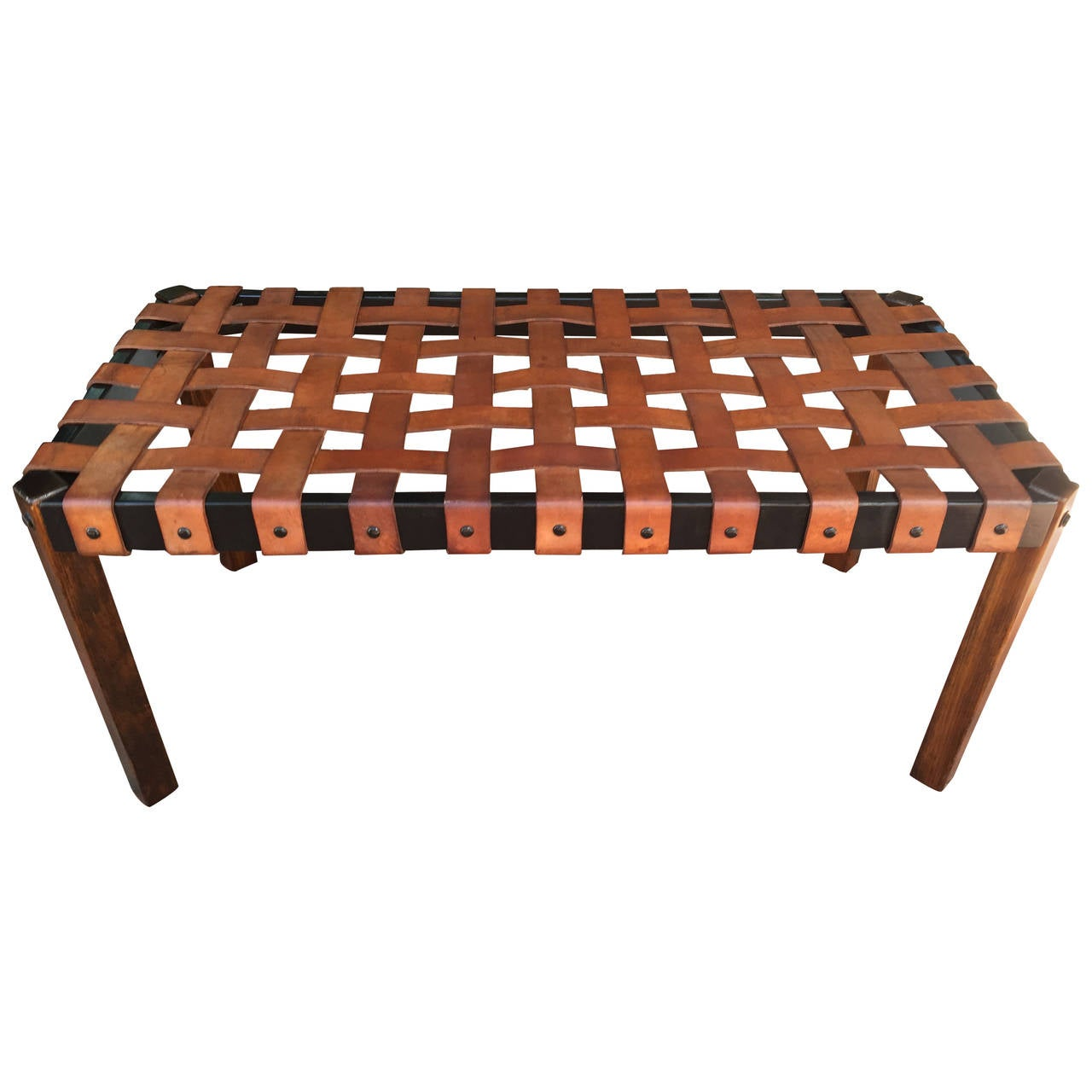 Large Woven Leather Bench At 1stdibs