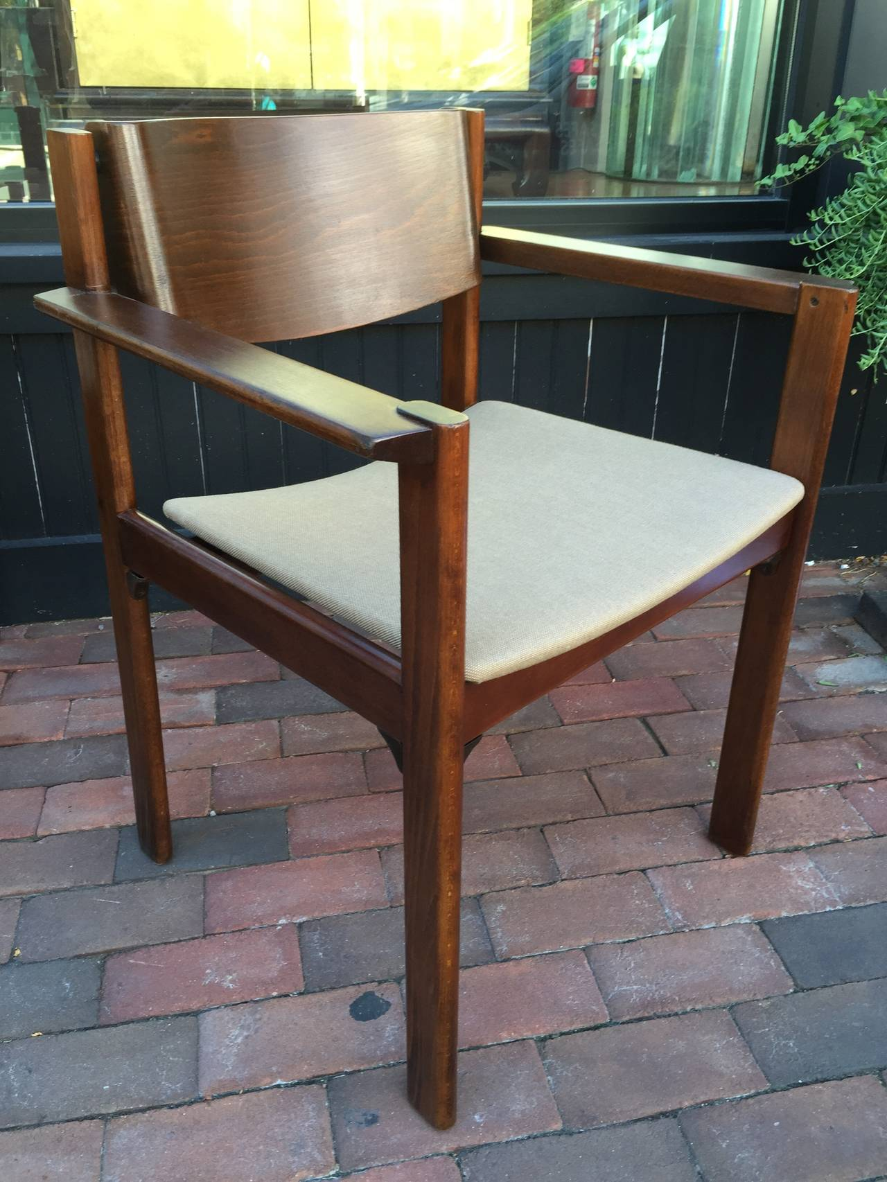 American Set of Six Bent Mahogany Arm Chairs, retailed by Harvey Probber For Sale