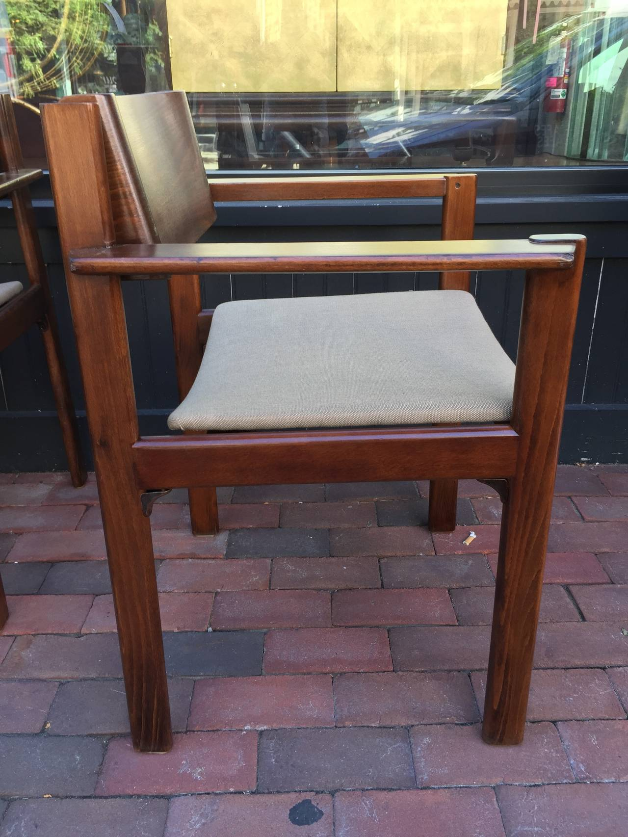 Set of Six Bent Mahogany Arm Chairs, retailed by Harvey Probber In Good Condition For Sale In Oaks, PA