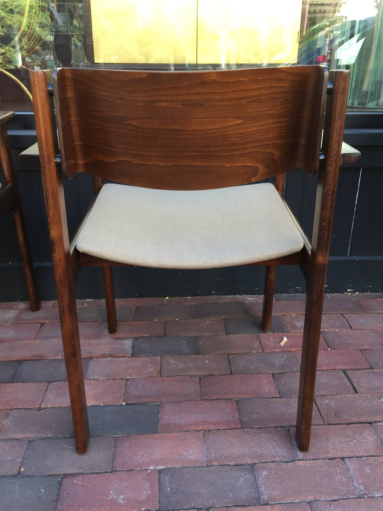 Mid-20th Century Set of Six Bent Mahogany Arm Chairs, retailed by Harvey Probber For Sale