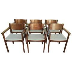 Set of Six Harvey Probber Bent Mahogany Arm Chairs