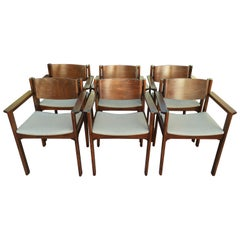 Set of Six Bent Mahogany Arm Chairs, retailed by Harvey Probber