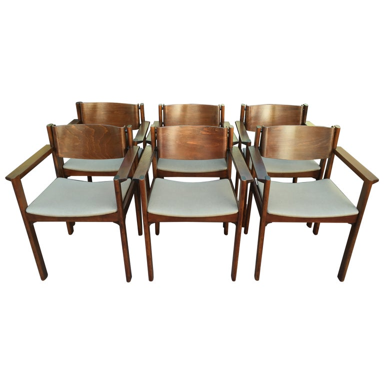 Set of Six Bent Mahogany Arm Chairs, retailed by Harvey Probber For Sale