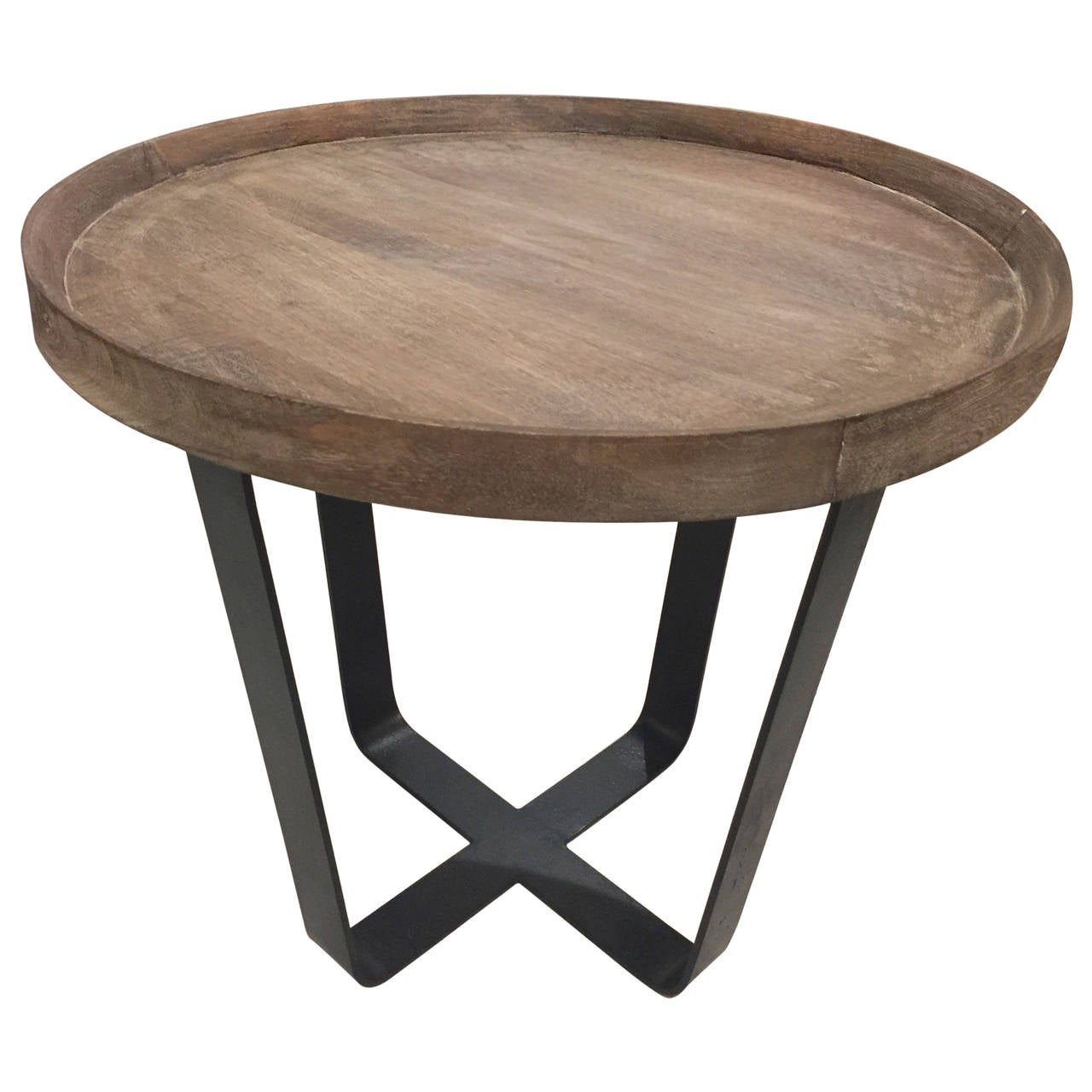Iron and wood industrial circular side table at 1stdibs for Iron and wood side table