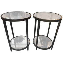 Pair of Circular Bronze Side Tables