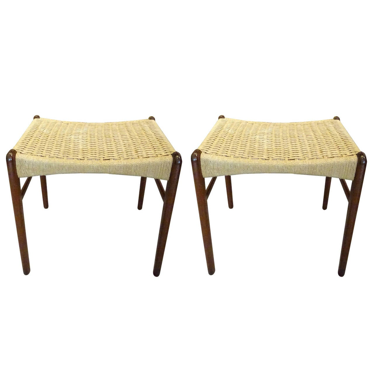 Hans Wegner Style Woven Rope Bench At 1stdibs