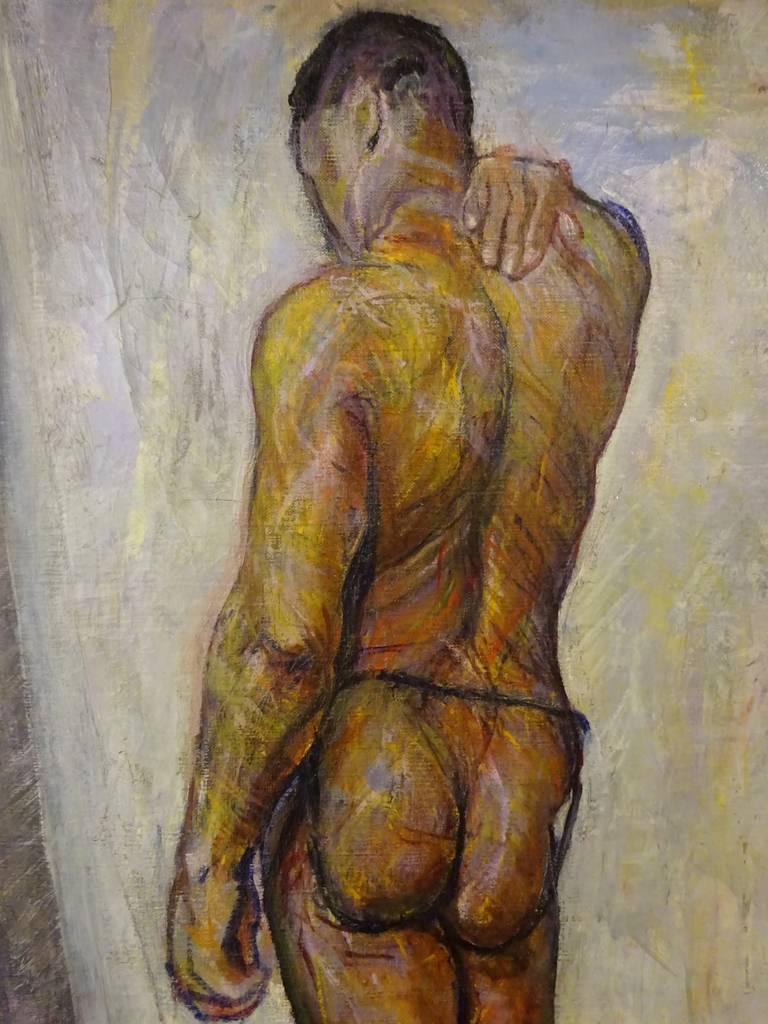 Male nude oil on canvas by New Hope School modernist Faye Swengel Badura (1904-1991). 23.75