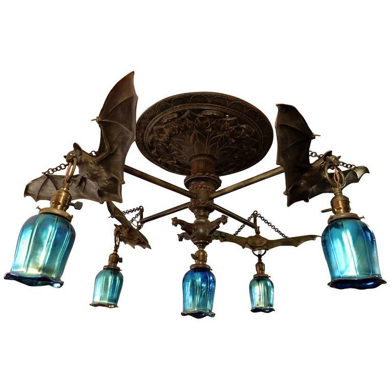 Austrian Bronze Bat Motif Chandelier At 1stdibs