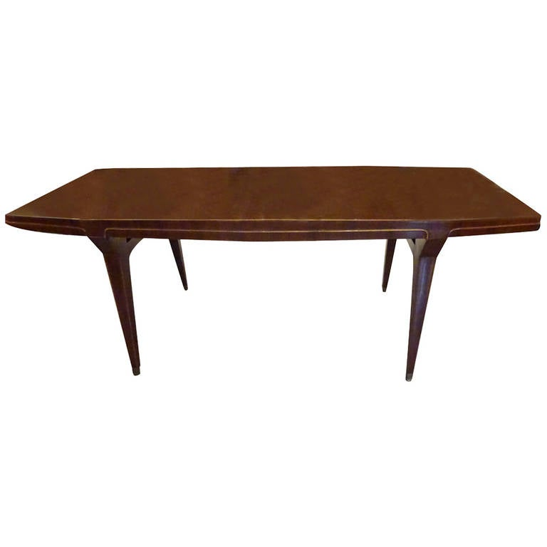 walnut dining table in the manner of ico parisi at 1stdibs