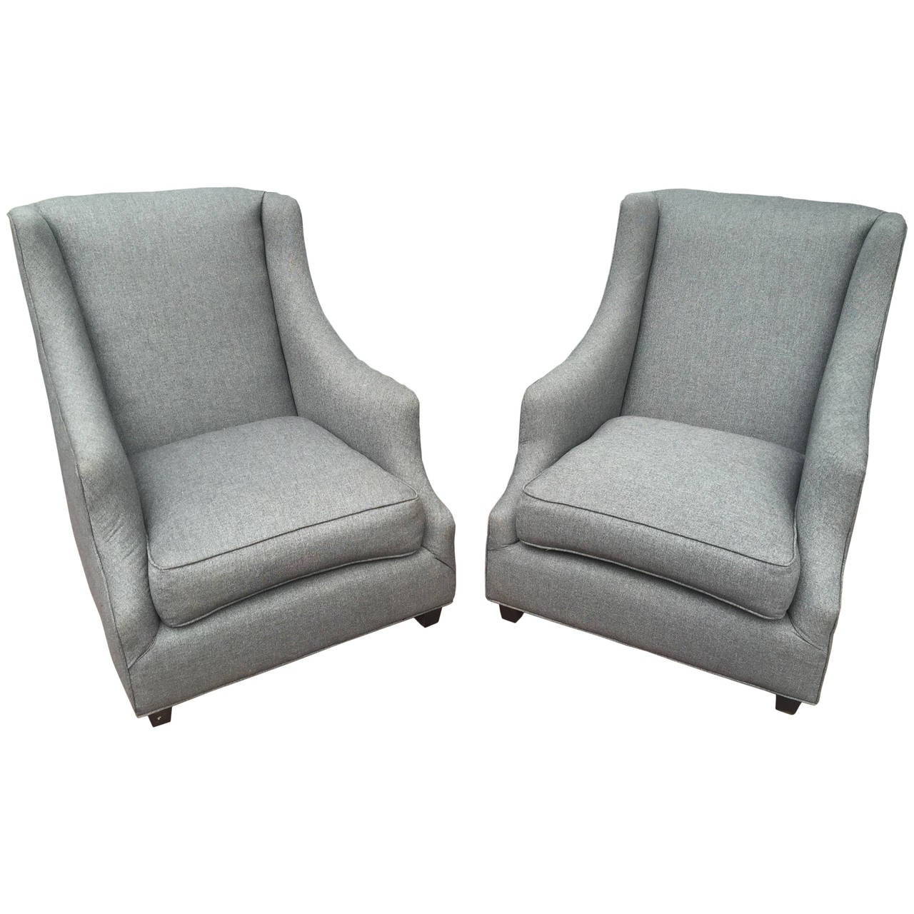 Pair of upholstered italian club chairs at 1stdibs for Small club chairs upholstered