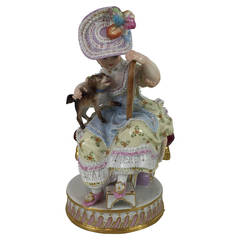 Meissen Porcelain Girl with Mirror and Dog