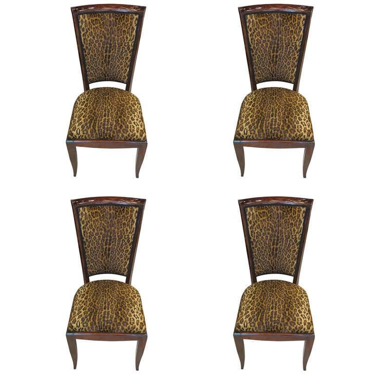 a set of four art deco leopard upholstered chairs at 1stdibs. Black Bedroom Furniture Sets. Home Design Ideas