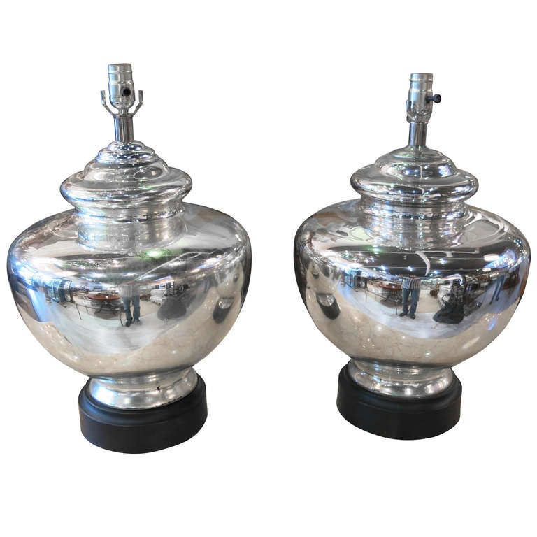Pair Of Massive Vintage Mercury Glass Lamps For Sale At