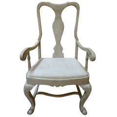 Queen Anne Style Whitewashed Armchair