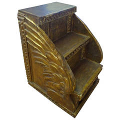 Antique Continental Gilt Library Steps