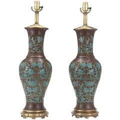 Pair of Chinese Cloisonné Vases, Now as lamps