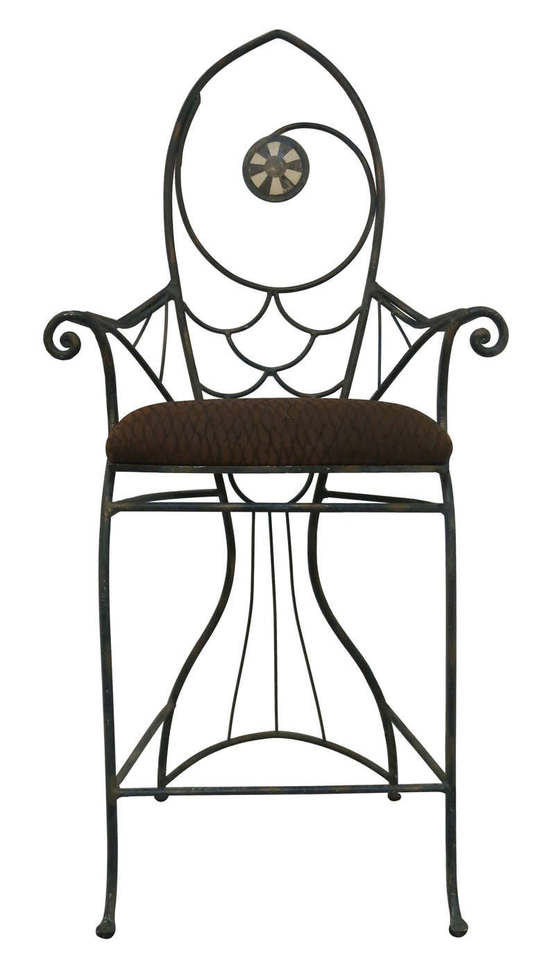 A pair of whimsical wrought iron fish bar chairs at 1stdibs for Does fish have iron