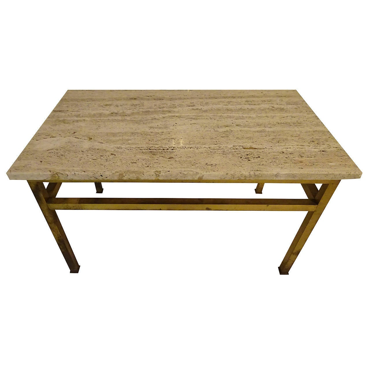 Brass Coffee Table With Travertine Top At 1stdibs