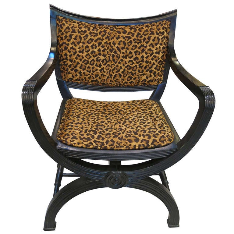 Leopard Print Curule Chair In The Style Of Maison Jansen At 1stdibs