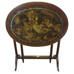 Jansen Tortoise Leather Tuck Away Table