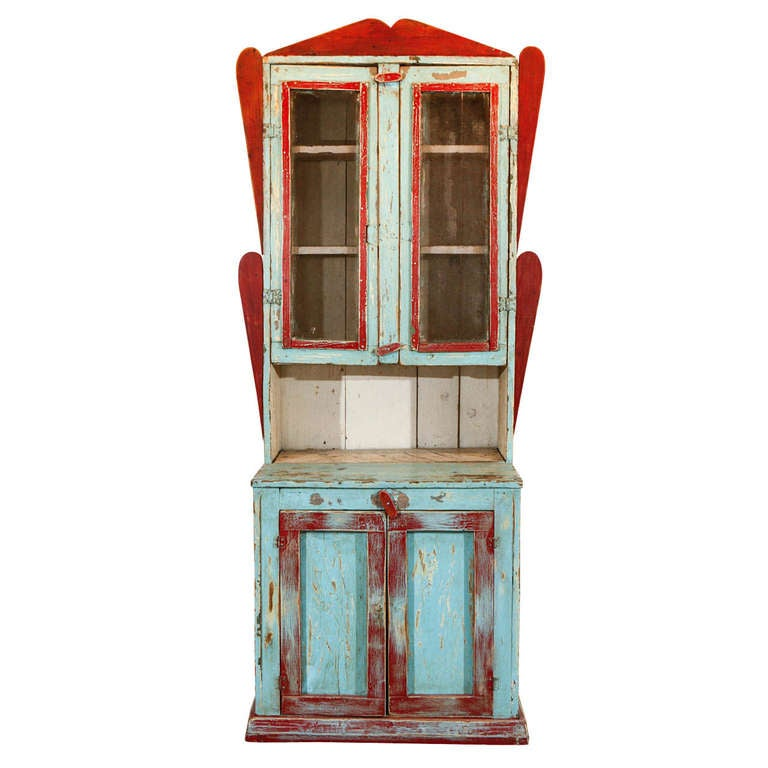 mexican painted furniturePainted New Mexican Trastero CupboardCabinet circa 18901910