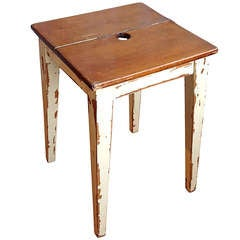Vintage Italian Stool with Painted Base