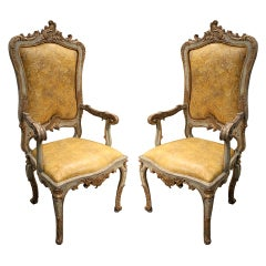 Pair of Italian Louis XV, Venetian Polychrome and Parcel-Gilt Fauteils