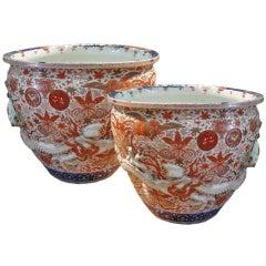 Imposing Pair of 19th Century Imari Porcelain Jardinières