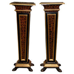 Pair of Polychrome, Ebonized and Parcel-Gilt Florentine Pedestals