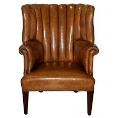 Impressive 19th Century English Leather Library Chair