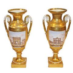 Pair of Unusual 19th Century French Grand Tour Porcelain de Paris Gold Urns
