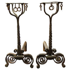Pair of 18th Century French Chateau Hand-Wrought Andirons