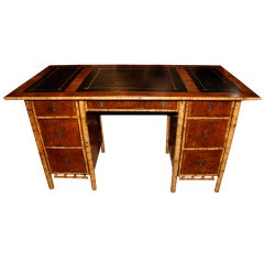 Exotic 19th Century English Import Bamboo and Walnut Pedestal Desk