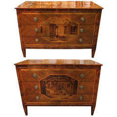 Extraordinary and Rare Pair of 18th Century Milanese Commodes