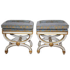 Pair of 19th Century Italian Polychrome and Parcel-Gilt Curule Benches