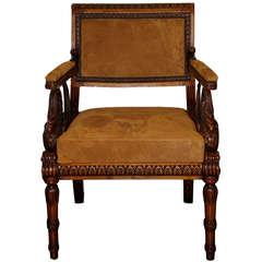 Unusual 19th Century Italian Empire Walnut Armchair