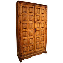 Late 18th Century Spanish Carved Elm Armoire