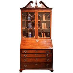 Late 18th Century English George III Mahogany Bureau Bookcase (Secretaire)